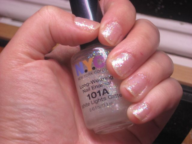 New York Color Long Wearing Nail Enamel - White Lights Glitter 101A