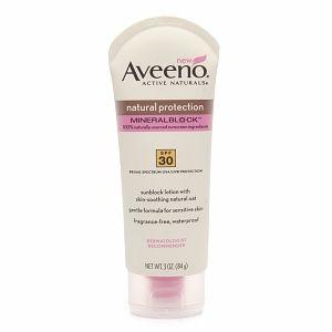Aveeno Natural Protection Mineral Block Lotion / Sensitive Skin  Mineral Sunscreen (Mineral Guard) SPF 30