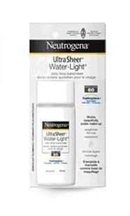 Neutrogena Ultra Sheer Water Light daily face sunscreen spf 60