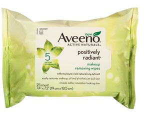 Aveeno Positively Radiant Makeup Remover wipes