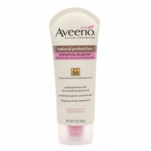 Aveeno Natural Protection Mineral Block Lotion / Sensitive Skin  Mineral Sunscreen (Mineral Guard) SPF 30