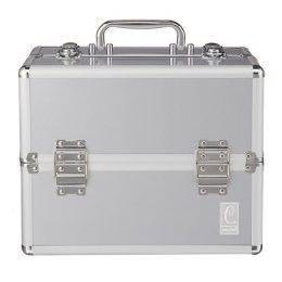 Caboodles Pro Silver Ribbed Makeup Train Case